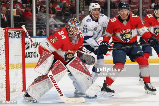 Goaltender James Reimer of the Florida Panthers defends the net against the Tampa Bay Lightning at the BBT Center on October 30 2017 in Sunrise...