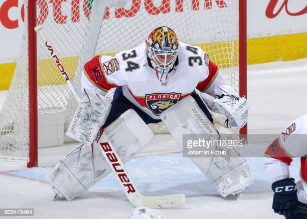 Goaltender James Reimer of the Florida Panthers guards the net during third period action against the Winnipeg Jets at the Bell MTS Place on February...
