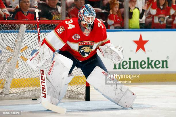 Goaltender James Reimer of the Florida Panthers on the ice during warm ups prior to the start of the game against the Vancouver Canucks at the BBT...