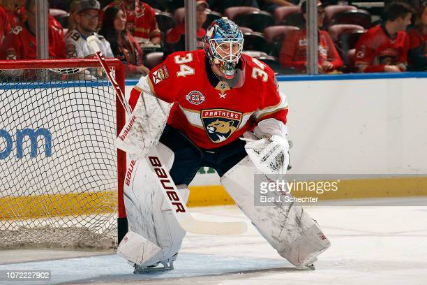 Goaltender James Reimer of the Florida Panthers on the ice for warm ups prior to the start of the game against the Chicago Blackhawks at the BBT...