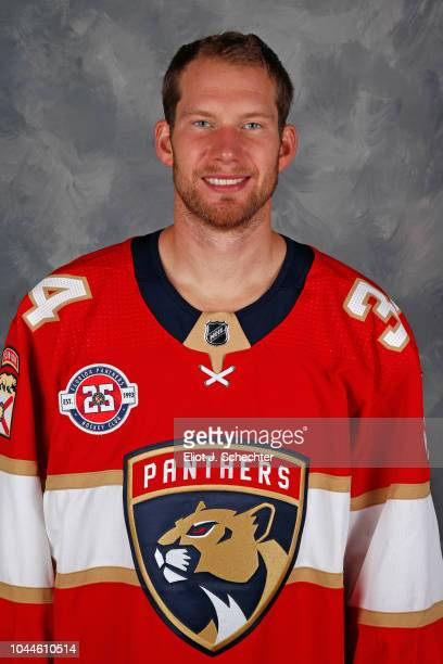 Goaltender James Reimer of the Florida Panthers poses for his official headshot for the 20182019 season on September 13 2018 at the BBT Center in...