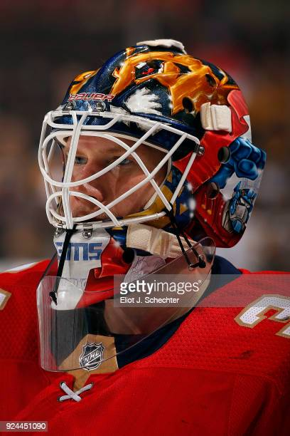 Goaltender James Reimer of the Florida Panthers skates on the ice during warm ups against the Pittsburgh Penguins at the BBT Center on February 24...