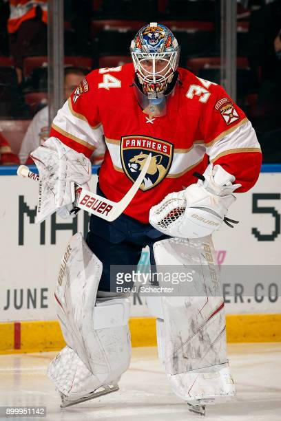 Goaltender James Reimer of the Florida Panthers skates on the ice prior to the start of the game against the Philadelphia Flyers at the BBT Center on...