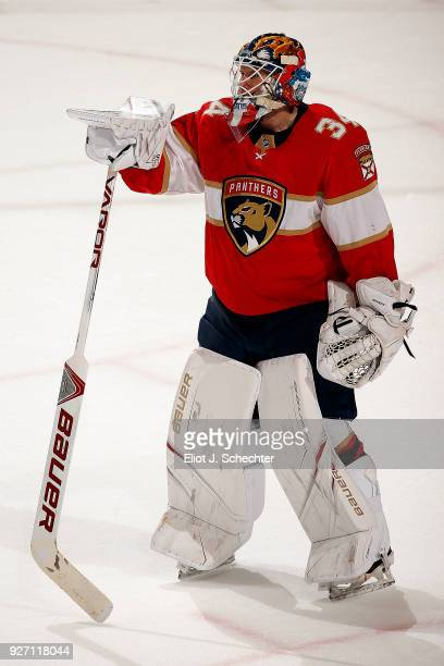 Goaltender James Reimer of the Florida Panthers stands on the ice during a brief scuffle against the Buffalo Sabres at the BBT Center on March 2 2018...