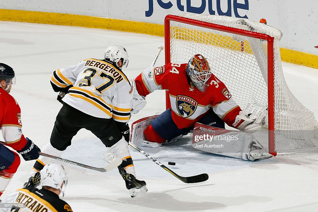 Goaltender James Reimer #34 of the Florida Panthers stops a shot by Patrice Bergeron #37 of the Boston Bruins during third period action at the BB&T Center on January 7, 2017 in Sunrise, Florida. The Bruins defeated the Panthers 4-0.
