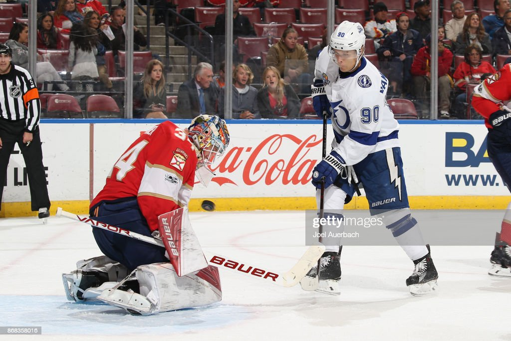 Goaltender James Reimer #34 of the Florida Panthers stops a shot by Vladislav Namestnikov #90 of the Tampa Bay Lightning during second period action at the BB&T Center on October 30, 2017 in Sunrise, Florida.
