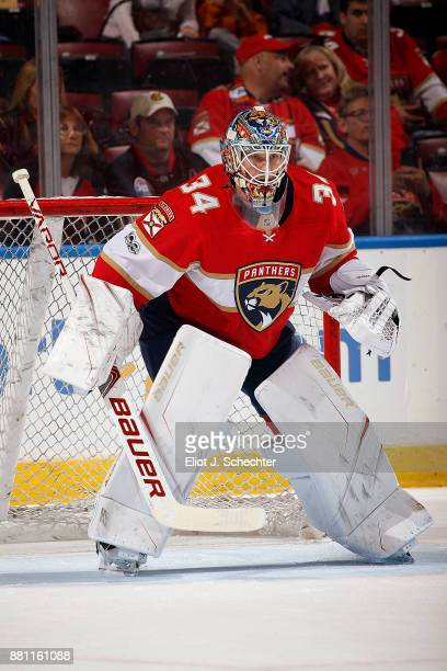 Goaltender James Reimer of the Florida Panthers warms up on the ice prior to the start of the game against the Chicago Blackhawks at the BBT Center...