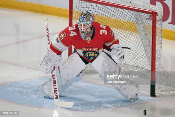 Goaltender James Reimer of the Florida Panthers warms up prior to the game against the Colorado Avalanche at the BBT Center on December 9 2017 in...