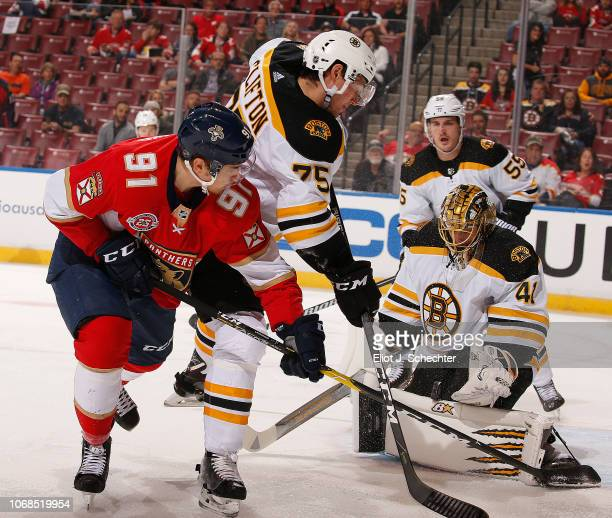 Goaltender Jaroslav Halak of the Boston Bruins defends the net against Juho Lammikko of the Panthers at the BB&T Center on December 4, 2018 in...