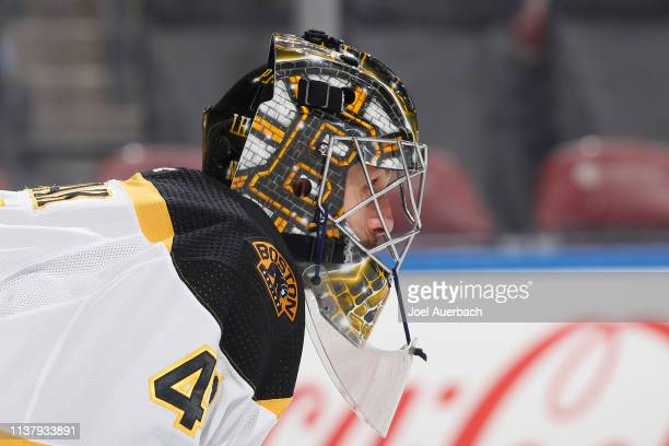 Goaltender Jaroslav Halak of the Boston Bruins looks up ice during first period action against the Florida Panthers at the BBT Center on March 23...
