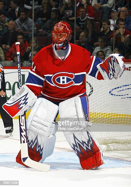 Goaltender Jaroslav Halak of the Montreal Canadiens defends his net during a preseason game against the Pittsburgh Penguins on September 18 2007 at...