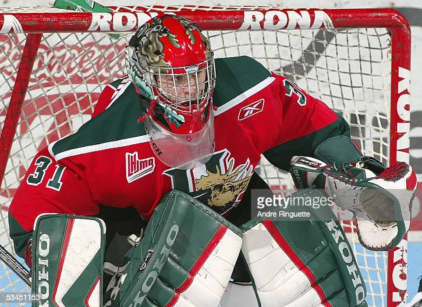 Goaltender Jason Churchill of the Halifax Mooseheads tends goal against Gatineau Olympiques during the Quebec Major Junior Hockey League game at...