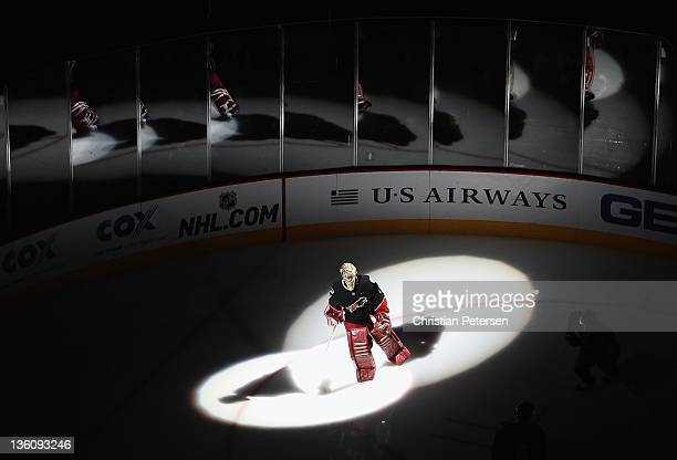 Goaltender Jason LaBarbera of the Phoenix Coyotes is introduced before the NHL game against the St Louis Blues at Jobingcom Arena on December 23 2011...