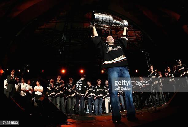 Goaltender JeanSebastien Giguere of the Anaheim Ducks celebrates winning the 2007 Stanley Cup onstage during the 'Anaheim Ducks Stanley Cup Victory...