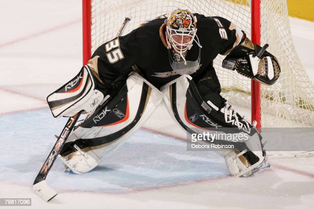 Goaltender Jean-Sebastien Giguere of the Anaheim Ducks defends the goal during the game against the Calgary Flames at Honda Center on February 17,...
