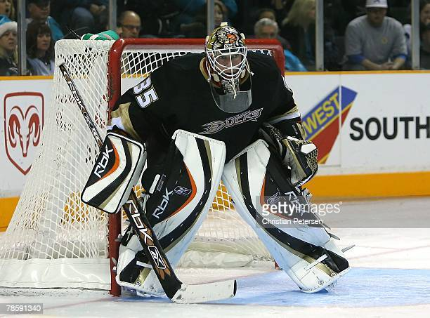Goaltender JeanSebastien Giguere of the Anaheim Ducks in action during the NHL game against the San Jose Sharks at HP Pavilion on December 18 2007 in...