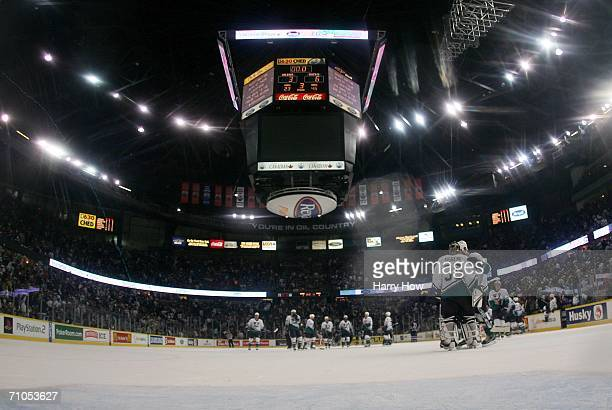 Goaltender Jean-Sebastien Giguere of the Mighty Ducks of Anaheim celebrates with teammates after defeating the Edmonton Oilers 6-3 in game four of...