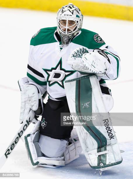 Goaltender Jhonas Enroth of the Dallas Stars warms up before the game against the Florida Panthers at BBT Center on March 5 2015 in Sunrise Florida