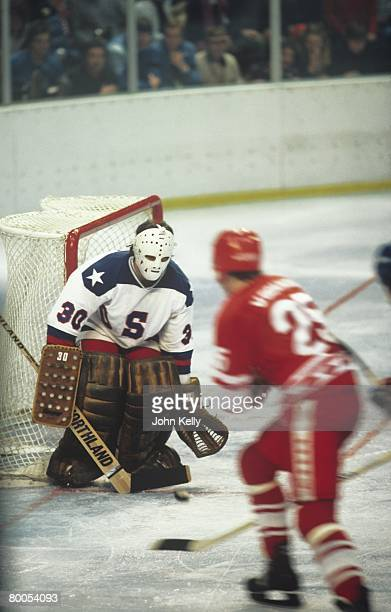 US goaltender Jim Craig blocks a shot by the Soviet Union during the 1980 Winter Olympics hockey game dubbed The Miracle on Ice