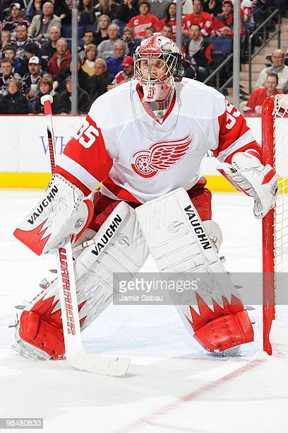 Goaltender Jimmy Howard of the Detroit Red Wings guards the net against the Columbus Blue Jackets on April 9 2010 at Nationwide Arena in Columbus Ohio