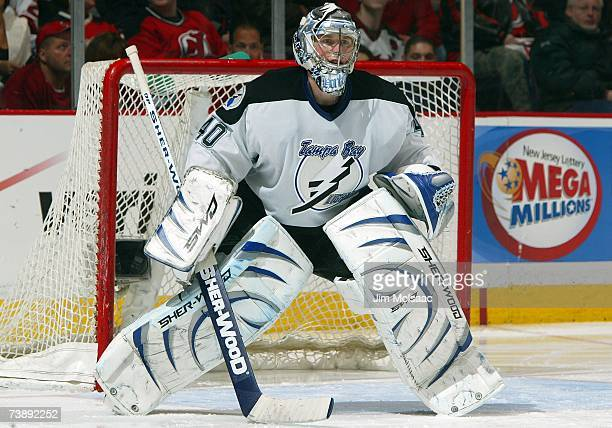 Goaltender Johan Holmqvist of the Tampa Bay Lightning tends the net against the New Jersey Devils in Game 2 of the 2007 Eastern Conference...