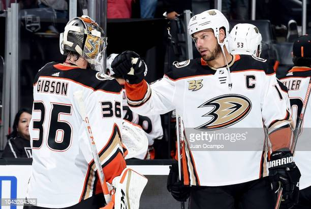 Goaltender John Gibson and Ryan Getzlaf of the Anaheim Ducks fist bumping after defeating the Los Angeles Kings 30 in the preseason game at STAPLES...