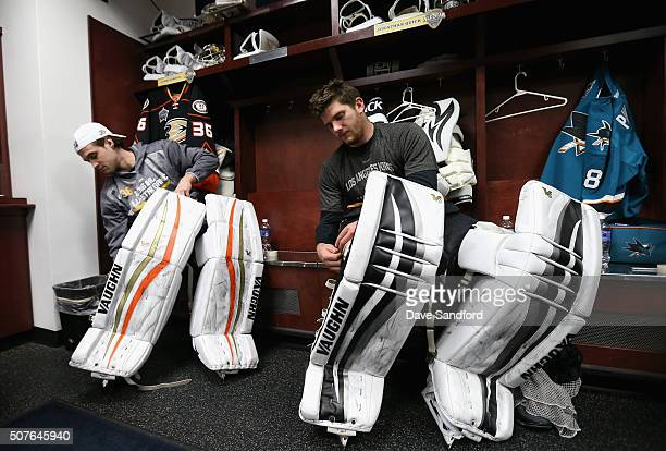 Goaltender John Gibson of the Anaheim Ducks and Jonathan Quick of the Los Angeles Kings prepare for the 2016 Honda NHL AllStar Skill Competition at...