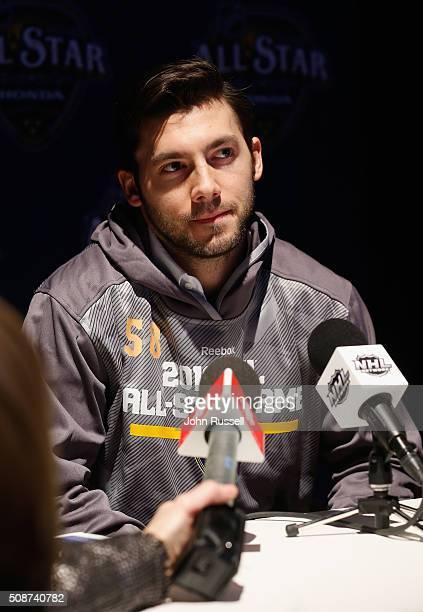 Goaltender John Gibson of the Anaheim Ducks attends Media Day for the 2016 NHL AllStar Game at Bridgestone Arena on January 29 2016 in Nashville...