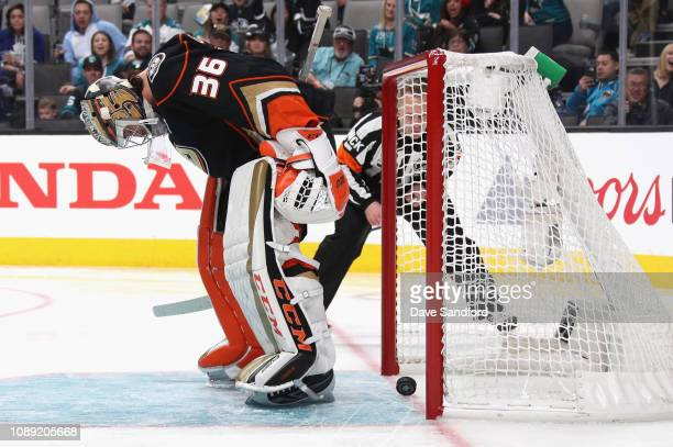 Goaltender John Gibson of the Anaheim Ducks competes in the Ticketmaster NHL Save Streak during the 2019 SAP NHL AllStar Skills at SAP Center on...