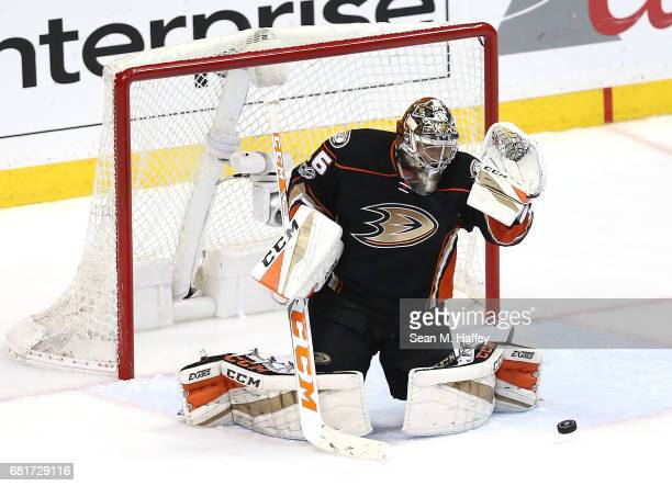 Goaltender John Gibson of the Anaheim Ducks defends against the Edmonton Oilers in Game Seven of the Western Conference Second Round during the 2017...