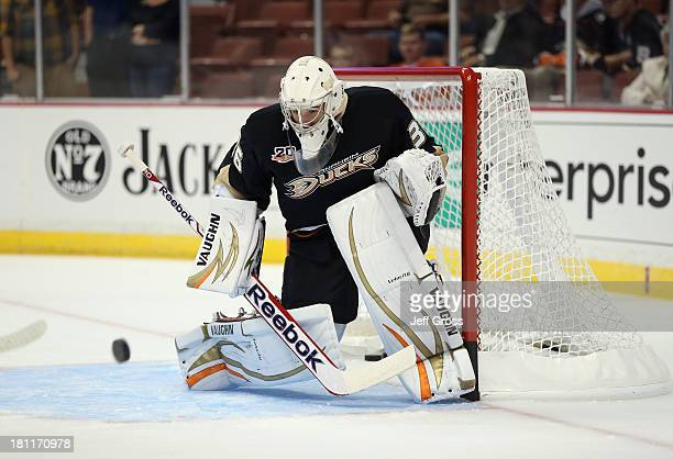 Goaltender John Gibson of the Anaheim Ducks defends his net prior to the start of the game against the Los Angeles Kings at Honda Center on September...