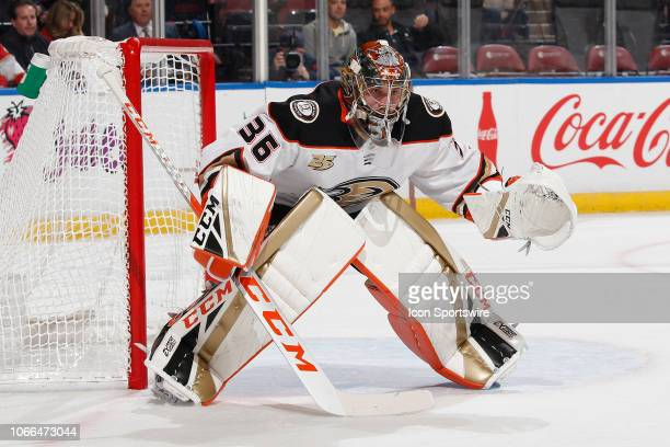 Goaltender John Gibson of the Anaheim Ducks defends the net against the Florida Panthers at the BBT Center on November 28 2018 in Sunrise Florida The...