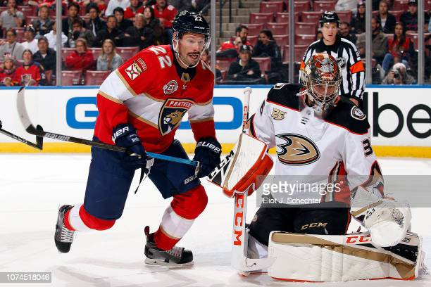 Goaltender John Gibson of the Anaheim Ducks defends the net against Troy Brouwer of the Florida Panthers at the BBT Center on November 28 2018 in...
