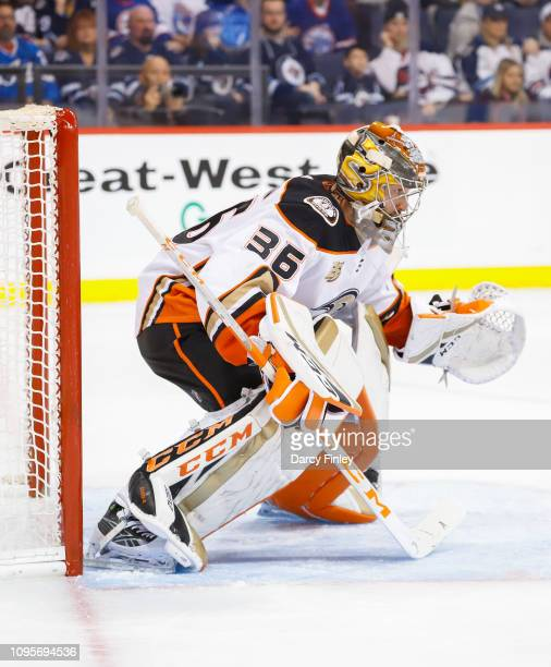 Goaltender John Gibson of the Anaheim Ducks guards the net during second period action against the Winnipeg Jets at the Bell MTS Place on January 13...
