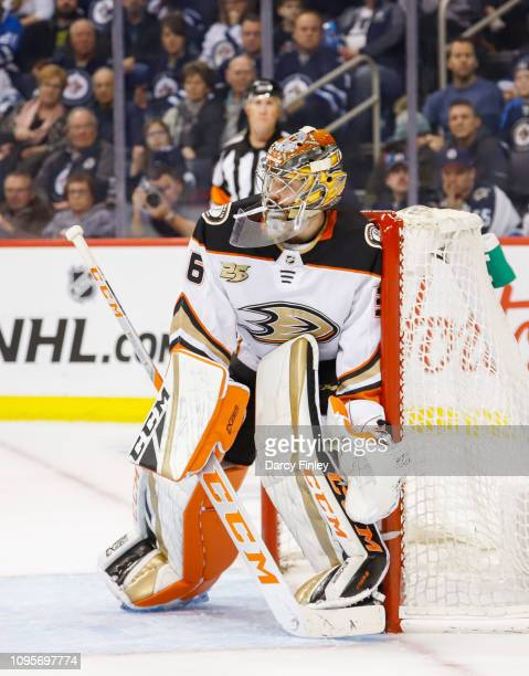 Goaltender John Gibson of the Anaheim Ducks guards the net during third period action against the Winnipeg Jets at the Bell MTS Place on January 13...
