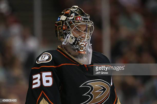 Goaltender John Gibson of the Anaheim Ducks looks on against the Arizona Coyotes at Honda Center on September 23 2014 in Anaheim California