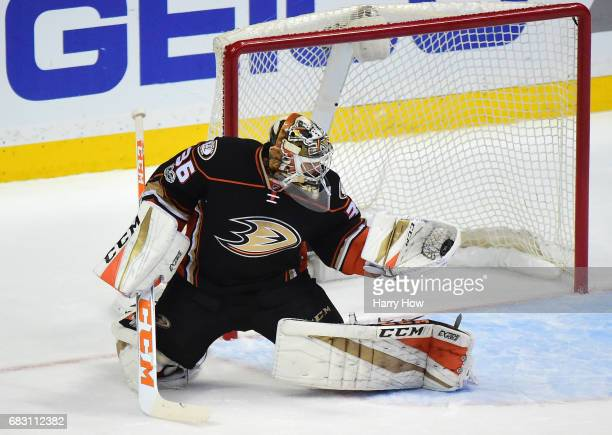 Goaltender John Gibson of the Anaheim Ducks makes a glove save in the first period of Game Two of the Western Conference Final during the 2017...