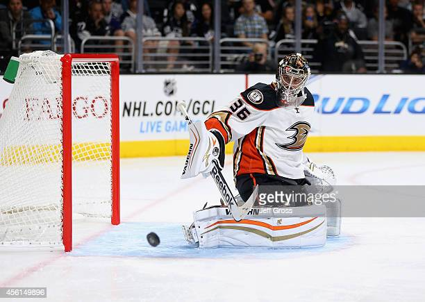 Goaltender John Gibson of the Anaheim Ducks makes a save against the Los Angeles Kings at Staples Center on September 25 2014 in Los Angeles...