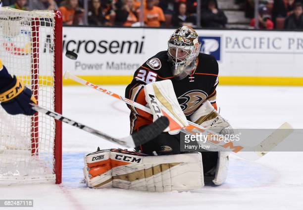 Goaltender John Gibson of the Anaheim Ducks makes a save during the first overtime period of Game One of the Western Conference Final during the 2017...