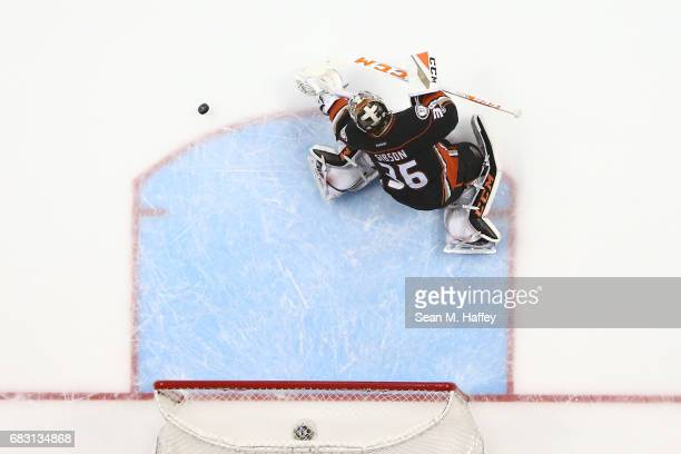 Goaltender John Gibson of the Anaheim Ducks makes a save in Game Two of the Western Conference Final during the 2017 Stanley Cup Playoffs at Honda...