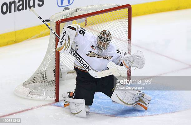 Goaltender John Gibson of the Anaheim Ducks makes a save in the first period of Game Six of the Second Round of the 2014 NHL Stanley Cup Playoffs...