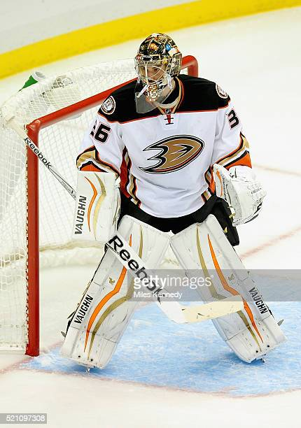Goaltender John Gibson of the Anaheim Ducks plays against the Pittsburgh Penguins during the game at the Consol Energy Center on October 9 2014 in...