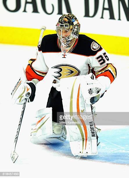 Goaltender John Gibson of the Anaheim Ducks plays in the game against the Philadelphia Flyers at Wells Fargo Center on October 14 2014 in...