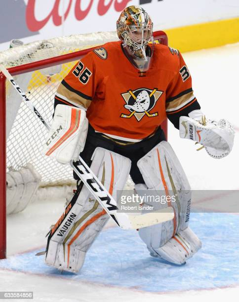 Goaltender John Gibson of the Anaheim Ducks plays in the game against the Los Angeles Kings at Staples Center on February 4 2016 in Los Angeles...