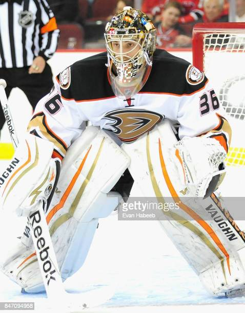 Goaltender John Gibson of the Anaheim Ducks plays in the game against the New Jersey Devils at Prudential Center on March 29 2015 in Newark New Jersey