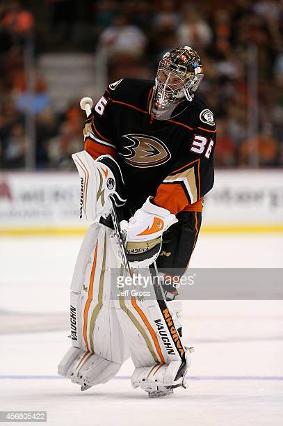 Goaltender John Gibson of the Anaheim Ducks skates from the bench to his net against the Arizona Coyotes at Honda Center on September 23 2014 in...