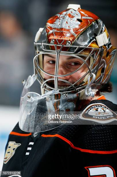 Goaltender John Gibson of the Anaheim Ducks smiles during warmup before the game before the game against the Dallas Stars at Honda Center on December...