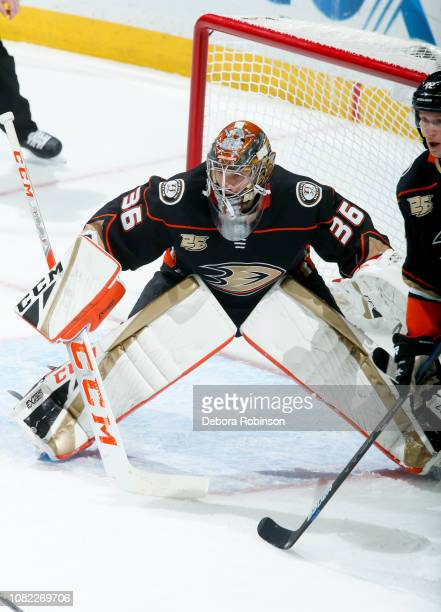 Goaltender John Gibson of the Anaheim Ducks tends net during the second period of the game against the Dallas Stars at Honda Center on December 12...
