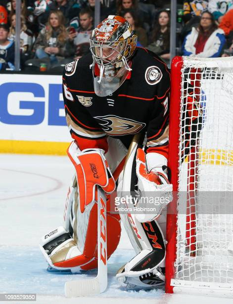 Goaltender John Gibson of the Anaheim Ducks tends net during the second period of the game against the Pittsburgh Penguins at Honda Center on January...