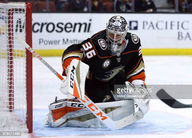 Goaltender John Gibson of the Anaheim Ducks tracks the puck during the second period of the NHL game against the Florida Panthers at Honda Center on...